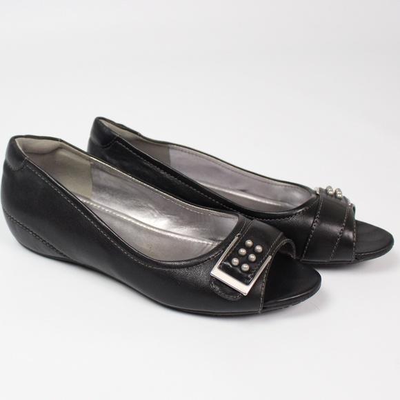 1f842e97 Ecco black open toe flat slip-on shoe buckle studs